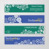 Vector abstract gear wheel and circuit board, banner set. Stock Image