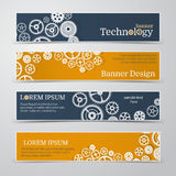Vector abstract gear wheel and circuit board, banner set. Royalty Free Stock Photos