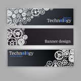 Vector abstract gear wheel and circuit board, banner set. Royalty Free Stock Photography