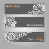 Vector abstract gear wheel and circuit board, banner set. Stock Photography