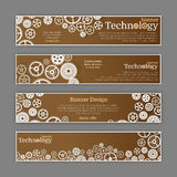 Vector abstract gear wheel and circuit board, banner set. Royalty Free Stock Photo