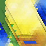 Vector abstract geometric background in Brazil color concept. Royalty Free Stock Image