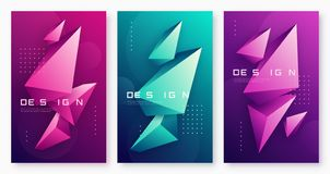 Vector abstract geometric backgrounds with 3d triangular shapes,. Colorful minimal cover designs, polygonal futuristic posters. Global swatches royalty free illustration