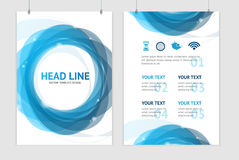 Vector abstract geometric blue round brochure Stock Photo