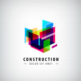 Vector abstract geometric construction, structure logo. Colorful 3d architecture Royalty Free Stock Image