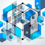 Vector of abstract geometric 3D cube pattern and blue background. Layout of cubes, hexagons, squares, rectangles and different abstract elements Stock Photos