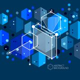 Vector of abstract geometric 3D cube pattern and dark blue backg. Round. Layout of cubes, hexagons, squares, rectangles and different abstract elements Royalty Free Stock Photos