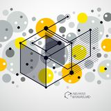 Vector of abstract geometric 3D cube pattern and yellow backgrou. Nd. Layout of cubes, hexagons, squares, rectangles and different abstract elements Stock Photos