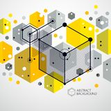 Vector of abstract geometric 3D cube pattern and yellow backgrou. Nd. Layout of cubes, hexagons, squares, rectangles and different abstract elements Stock Image