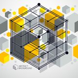 Vector of abstract geometric 3D cube pattern and yellow backgrou. Nd. Layout of cubes, hexagons, squares, rectangles and different abstract elements Royalty Free Stock Photography