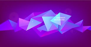 Vector abstract geometric 3d facet shape, horizontal banner, background, wallpaper. Triangular modern style royalty free illustration