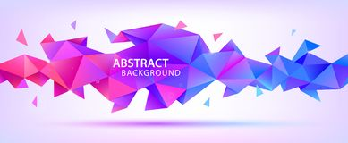 Vector abstract geometric 3d facet shape. Use for banners, web, brochure, ad, poster, etc. Low poly modern style. Background. Purple, multicolor vector illustration