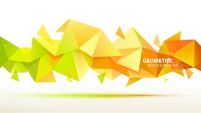 Vector abstract geometric 3d facet shape. Use for banners, web, brochure, ad, poster, etc. Low poly modern style. Background. Yellow, green orange royalty free illustration