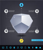 Vector abstract geometric 3d shape infographics with set of various web icons. Use for presentation, report, ad, etc. Modern style, dark background Royalty Free Stock Photo