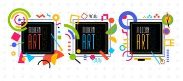 Vector abstract geometric dynamic pattern frame Modern Art Desig Royalty Free Stock Image