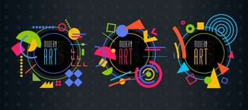 Vector abstract geometric dynamic pattern frame Modern Art Desig Royalty Free Stock Photos