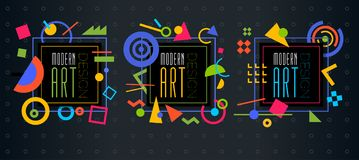 Vector abstract geometric dynamic pattern frame Modern Art Design Royalty Free Stock Images