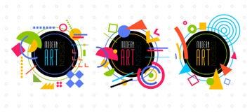 Vector abstract geometric dynamic pattern frame Modern Art Design Stock Image