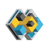 Vector Abstract Geometric Icon. Blue, yellow and grey stylish shape for business logo and identity design template Royalty Free Stock Photo