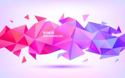 Vector abstract geometric low poly 3d shape. Origami facet style banner, background. Purple and red triangles poster. Horizontal orientation stock illustration