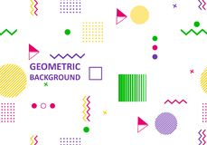 Vector of abstract geometric pattern and background. The cover template is installed with graphic geometric elements of the style bauhaus, memphis and hipster Stock Photos