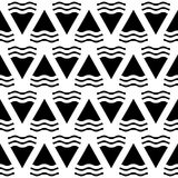 Vector abstract geometric seamless pattern in black and white. Background in monochrome style illustration Stock Illustration