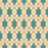 Vector abstract geometric seamless pattern with mesh, grid, lattice, knitting. Vector mesh seamless pattern. Elegant abstract geometric ornament in teal and tan royalty free illustration