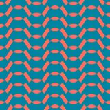 Vector abstract geometric seamless pattern. Turquoise green and coral color. Vector abstract geometric seamless pattern with wavy lines, curved shapes, zigzag vector illustration
