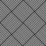 Vector abstract geometric seamless pattern. Weaving textile fabric with black and white crossed straight lines. Checked Stock Image