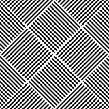 Vector abstract geometric seamless pattern. Weaving textile fabric with black and white crossed straight lines. Checked. Background texture in diagonal Royalty Free Stock Photos