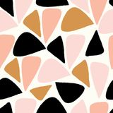 Vector abstract geometric seamless repeat pattern in pink, gold, black and white vector illustration