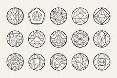 Vector abstract geometric shapes. Set of hipster vector geometric shapes. Circular abstract. Shapes made using line, triangles, circles, and other polygons. You Royalty Free Stock Photo