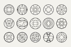 Vector abstract geometric shapes. Set of hipster vector geometric shapes. Circular abstract. Shapes made using line, triangles, circles, and other polygons. You Stock Photography