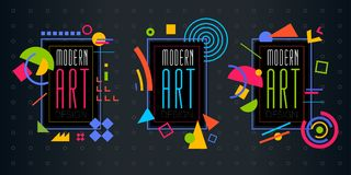 Vector abstract geometrisch dynamisch patroonkader Modern Art Design Stock Fotografie