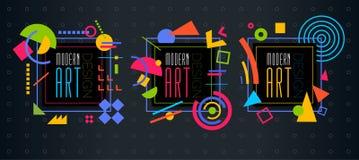 Vector abstract geometrisch dynamisch patroonkader Modern Art Design Stock Afbeeldingen