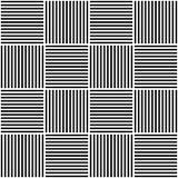 Vector abstract geometrisch naadloos patroon Het weven van textielstof met zwart-witte gekruiste rechte lijnen gecontroleerd Royalty-vrije Stock Foto