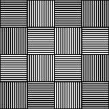Vector abstract geometrisch naadloos patroon Het weven van textielstof met zwart-witte gekruiste rechte lijnen gecontroleerd Royalty-vrije Stock Afbeelding