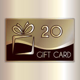 Vector abstract gift card for twenty in gold and Royalty Free Stock Images