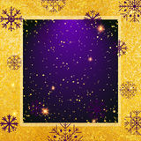Vector abstract glamour background. Violet frame on shiny golden backdrop. Vector abstract glamour background. Violet backdrop on shiny golden background Stock Images