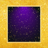 Vector abstract glamour background. Violet frame on shiny golden backdrop. Vector abstract glamour background. Violet backdrop on shiny golden background Stock Photo