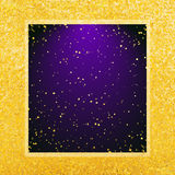 Vector abstract glamour background. Violet frame on shiny golden backdrop. Vector abstract glamour background. Violet backdrop on shiny golden background Royalty Free Stock Image