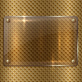 Vector abstract glass plaque on the metal cell Stock Photo