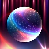 Vector abstract glowing magic sphere. 3d planet concept. Shape o. F glowing circles and particles. Futuristic globe. Neon lights planet. Illustration for Royalty Free Stock Photos