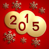 Vector abstract gold circles for the New Year 2015. Vector abstract circles gold cloud cloud with the New Year 2015 and snowflakes on red Stock Photo