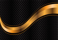 Vector abstract gold curve on silver circle mesh. Royalty Free Stock Images
