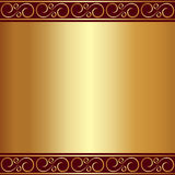 Vector abstract gold plate background with vignettes Stock Photos