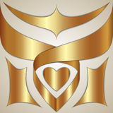 Vector abstract gold ribbon on the color background Stock Images