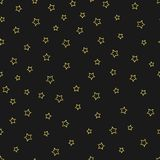 Vector abstract gold stars outline seamless pattern on the black background Royalty Free Stock Photos