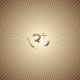 Vector abstract golden background with rays. Vector abstract gold background with rays and OM mantra stock illustration