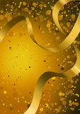 Vector abstract golden glowing empty background with bokeh, lens flare and golden ribbon. Stock Image